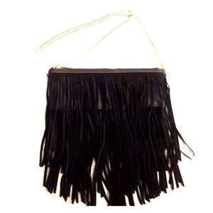 Black Purse with Suede Fringe and Gold Chain Strap